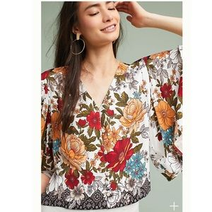 Anthropologie farm rio top reyna floral blouse top